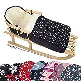 BAMBINIWELT KOMBI-ANGEBOT Holz-Schlitten mit Rückenlehne & Zugseil + universaler Winterfußsack (90cm), auch geeignet für Babyschale, Kinderwagen, Buggy, aus Wolle DESIGN (schwarz weiße Punkte)