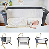 Cosy Cuddler Next2you Bedside Baby Coo Sleeping Crib (Solid Wood) (Dark Grey)