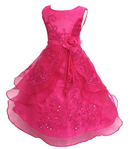 Kleid Pinzessin Kostüm Lange Brautjungfern Kleider Hochzeit Party Festzug Blumenmädchenkleider Rose Rot 130 (Mädchen Kostüm Bilder)