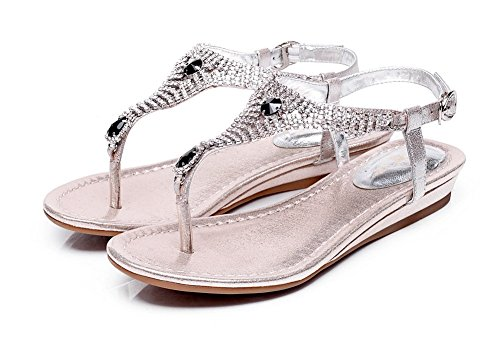 Schuhe Kristalle Silber Damen Schnalle Pumpen Adee Pelz 5X0Tqqw
