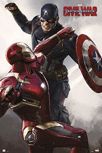 Grupo Erik Editores Poster Capitan America Civil War Cap Vs Iron Man