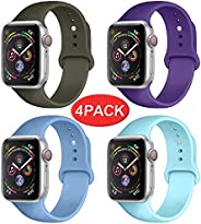 Sport Band Compatible for Apple Watch Band 38mm 40mm 42mm 44mm, Soft Silicone Sport Strap Replacement Bands Co