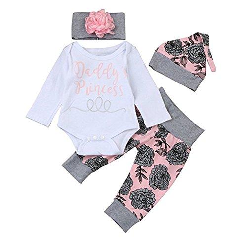 chicolife Baby Mädchen Blumen Outfit Set Buchstaben gedruckt Papas Prinzessin Langarm-Strampler mit Blume Stirnband Hut 4Pcs