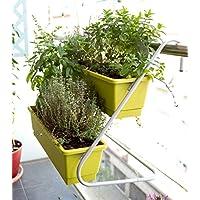 Jardín colgante , Soporte de balcón con 2 balconeras color Pistacho 50x16x14 cm.