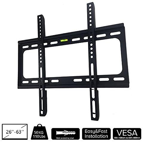 Maxesla Ultra-dünne Plasmafernseher Wandhalterung 26 bis 63 Zoll für 110lbs/50kg LED, LCD-Bildschirme Fernseher VESA 400x400mm(max) Universell TV Wandhalterung Wandhalter Passend für viele TV-Hersteller
