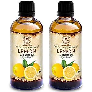 Zitronenöl 200ml – 2x100ml – Citrus Limon – Italien – 100% Reines Zitronen Öl für Guten Schlaf – Körperpflege – Wellness – Schönheit – Entspannung – Aromatherapie – Aroma Diffuser – Duftlampe