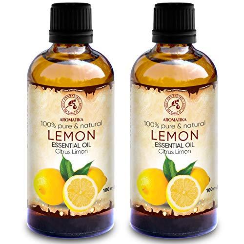 Zitronenöl 200ml - 2x100ml - Citrus Limon - Italien - 100% Reines Zitronen Öl für Guten Schlaf - Körperpflege - Wellness - Schönheit - Entspannung - Aromatherapie - Aroma Diffuser - Duftlampe -