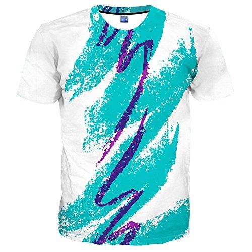 EOWJEED Unisex 3D Lovely Katze Bedruckte Rundhals Kurzarm T-Shirts - S