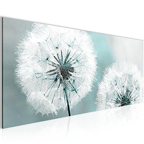 Bilder Blumen Pusteblume Wandbild 100 x 40 cm Vlies - Leinwand Bild XXL Format Wandbilder Wohnzimmer Wohnung Deko Kunstdrucke Blau 1 Teilig -100% MADE IN GERMANY - Fertig zum Aufhängen 207112b