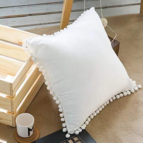 HUILIN quaste Sitz Sofa rückenkissen Stuhl sitzkissen solide Moderne wohnkultur Kinder mädchen Zimmer dekorative Kissen mit Kern, weiß, 45 cm mit Kern (Lila Dekorative Bett Kissen)
