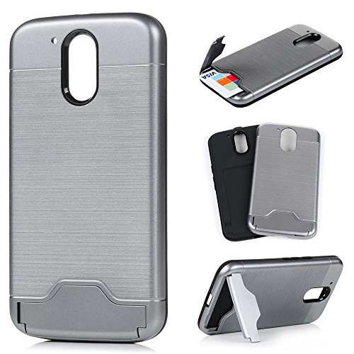 YOKIRIN Moto G4 Case, Plus Case - Hybrid Dual Layer Slim Armor Pc Hard Soft Silicone Bumper Rubber Kickstand High Impact Defender Combo Protective Cover for / Plus, Silver