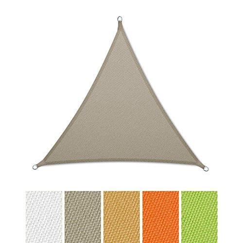casa pura® Sonnensegel wasserabweisend imprägniert | Dreieck gleichseitig | Testnote 1.4 | UV Schutz | verschiedene Farben und Größen (grau, 3x3x3m)