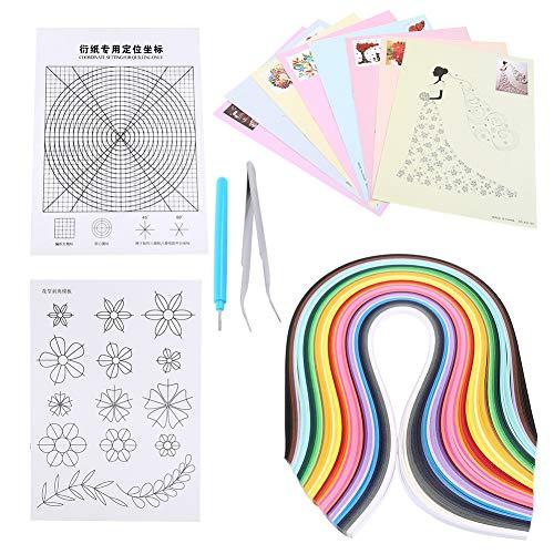 6 in 1 Papier Quilling Kits Set 500pcs Quilling Streifen + 8pcs Quilling Zeichnung + Quilling Grid Guide + Blumenmuster + Schlitz Stift + Pinzette -