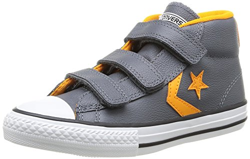 Converse Star Player Junior 3v Leather Mid I, Unisex-Kinder Kurzschaft Stiefel Grau (82 CENDRE/ORANGE)
