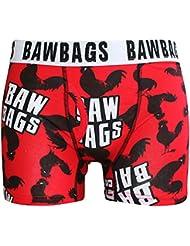 Baw Bags Cock Guys Boxer Caleçon Homme Imprimé Fun Coq (Rouge)