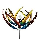 Tulip Solar-Windrad, Mehrfarbig, solarbetrieben, mit Glaskugel mit Licht in wechselnden Farben, aus Metall und Stahl