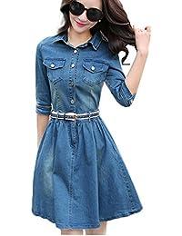 4a97c6b83bc4 BININBOX Damen Tailliert Jeanskleid Denim Blusenkleid Langarm mit  Knopfleiste und Tasche Knielang