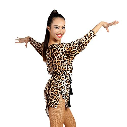 Leopard Design Kleid (SCGGINTTANZ G1034 Latin Latein Der Ball Moderner Tanz Gesellschaftstanz Professionell Unregelmäßiges Design Kleider Tops (Free-Size, (FBA) Leopard))