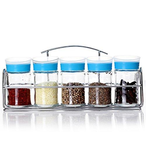 GAODUZI Fournitures de cuisine Épices en verre Bouteilles Set Assaisonnements de couleur Bouteilles Assaisonnement rotatif Barbecue Bouteilles de sauce ( Couleur : Bleu )