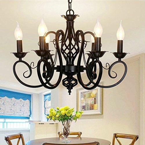 AMOS Kerze Kronleuchter Schmiedeeisen schwarz europäischen Stil Wohnzimmer minimalistischen 6/8 bar Tisch Studie Lampe Beleuchtung (größe : 53 * 38cm) - Runde-tisch-kronleuchter