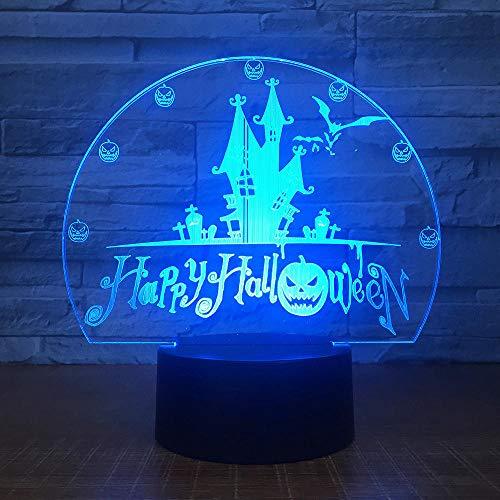 Lampe 3D Illusion LED Nachtlicht Halloween Spukhaus USB-Stromversorgung 7 Farben Blinken Berührungsschalter und Fernbedienung Schlafzimmer Schreibtischlampe für Kinder Weihnachts geschenk
