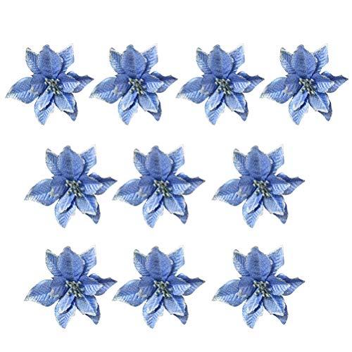 BESTOYARD 10pcs Weihnachtsblumen künstliche Glitter Hochzeit Weihnachtsbaum Kränze Dekor Ornament (blau) (Glitter Hochzeit Dekor)