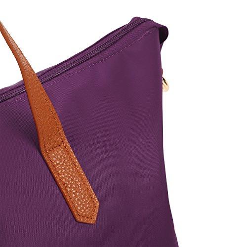 ECOSUSI Shopper Nylon Tote Handtasche Schulter Tasche Langer Griff 29 x 18 x 28cm Schwarz Lila-Langer Griff 29 x 18 x 28cm