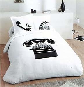 Parure de lit Housse de couette 2 personnes MICROFIBRE 240 x 220 cm - TELEPHONE RETRO DESIGN + 2 taies d'oreiller - Phone Duvet Cover