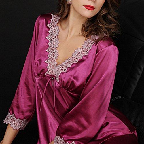 Aivtalk Femme Sexy Ensemble de Pyjama Dentelle Col-V Nuisette Manche Longue en Satin Pantalon Longue Vêtement de Nuit Chemise de Nuit en Soie Imitant Taille 40-46 - 4 Couleurs Violet