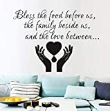 Qbbes Bless The Food Before Us Dining Roompray Vinyl Removable Wall Sticker Home Decor Waterproof Decals Wall Decor 43X59Cm