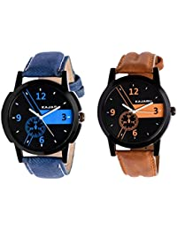 Kajaru KJR-6,4 Round Black Dial Analog Watch Combo For Men (Pack Of 2)