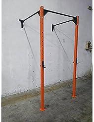 CrossRig-Wall-Rack - Estructura de pared de 120 cm de ancho para sentadillas con barra para flexiones/dominadas (muscle up & pull up), bíceps, crossfit, fitness y fisicoculturismo. , Arancione-Nero