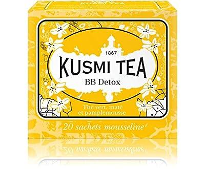 Kusmi Tea - Thé Bien-Être BB Detox - Mélange de Thé Vert, Maté et de Plantes, Aromatisé Pamplemousse - Idéal en Glacé - Boîte de 20 Sachets en PLA produits en France