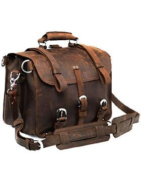 Umhängetasche Leder Vintage Laptoptasche Ledertasche Unitasche Collegetasche Lehrertasche Schultasche Bürotasche...