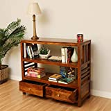 Timbertaste EVA Solid Wood Book Shelf Natural Teak l Multiutility l Living Room l for Home l for Office l Hand Crafted l Easy