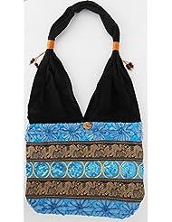 Sac bandoulière, sac besace soie Thai Turquoise motifs fleurs