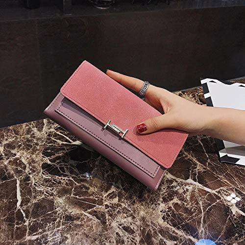 Fyyzg Lange Damen Geldbörse matt Geldbörse Mode Europa und Amerika 30% Lange Damen - pink