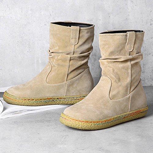 Women Martin Boots Shoes, SOMESUN Delle Donne Delle Signore Femminile Pelle Scamosciata Motociclista Caviglia Trim Piatto Caviglia Caldi Scarpe Martin Stivali Beige