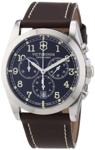 Victorinox Swiss Army Men's Classic Infantry Quartz Watch with Grey Dial Chronograph Display and Brown Leather Strap