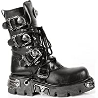 NEWROCK New Rock 391 S1 Black Metallic Reactor Goth Biker Unisex Black Boots
