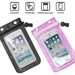BSK Funda Impermeable Móvil Funda Impermeable iPhoneX iPhone7 Material TPU Xiaomi Redmi Huawei Samsung Honor hasta 6.3 Pulgadas Negra+Azul