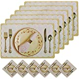 Kuber Industries Flowar Pot Design PVC 6 Piece Dining Table Placemat Set with Tea Coasters (Yellow)-CTKTC32184