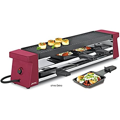 Spring 3039003001 Raclette 4 Compact con piastra grill in ghisa, in alluminio rosso