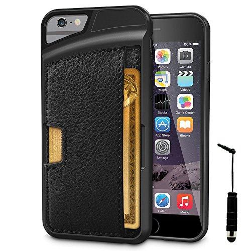VComp-Shop® Handy Schutzhülle mit Kartenfach für Apple iPhone 6/ 6s + Großer Eingabestift - SCHWARZ SCHWARZ + Mini Eingabestift