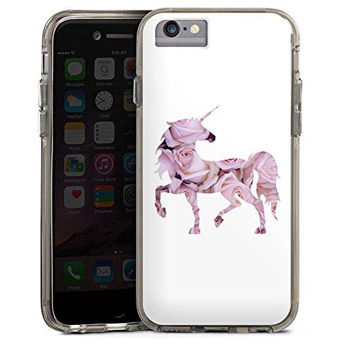 Apple iPhone 6 Bumper Hülle Bumper Case Glitzer Hülle Einhorn Unicorn Rosen Geschenk Bumper Case transparent grau