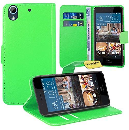 HTC Desire 728G Handy Tasche, FoneExpert® Wallet Case Flip Cover Hüllen Etui Ledertasche Lederhülle Premium Schutzhülle für HTC Desire 728G (Grün)