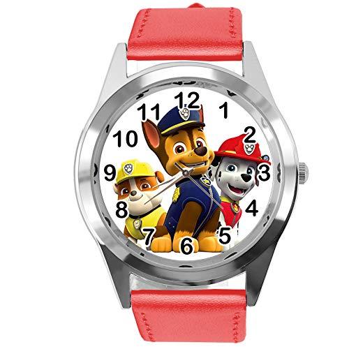 TAPORT® Reloj de Cuarzo Rojo Correa de Cuero Redondo para los Fans de la Patrulla Canina