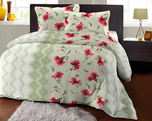 Bombay Dyeing Fair Mist Printed Double Bedsheet - DSN-1 - Poly cotton - 254 cm x 229 cm - Red  available at amazon for Rs.699