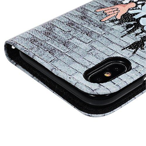 MAXFE.CO Schutzhülle Tasche Case für iPhone X PU Leder Flip Tasche Cover Gemalt Muster im Ständer Book Case / Kartenfach Rock Musik Rock Musik