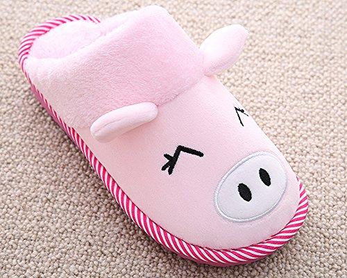 Femme Homme Chaussons Dintérieur Confortable Pantoufles Chaudes Antidérapante Slipper pink